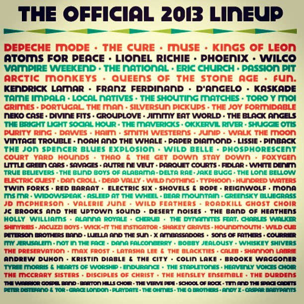 Cartel del Austin City Limits Music Festival: Tame Impala, Atoms For Peace, Arctic Monkeys…