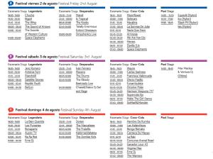 arenal sound horarios 2013