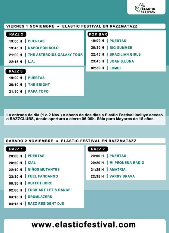 Horarios del Elastic Festival