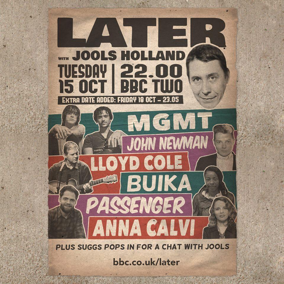 MGMT, Anna Calvi, Passenger y John Newman en Jools Holland