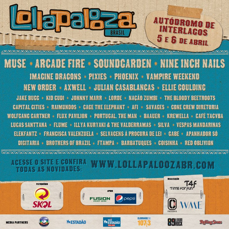 Cartel del Lollapalooza Brasil 2014: Arcade Fire, Muse, Pixies…