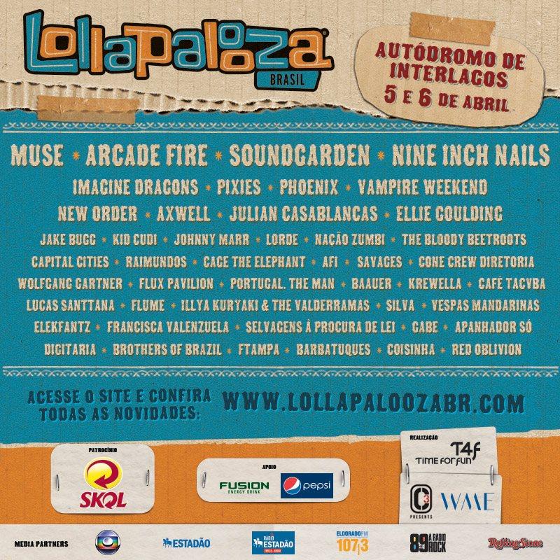 Cartel del Lollapalooza Brasil 2014: Arcade Fire, Muse, Pixies…