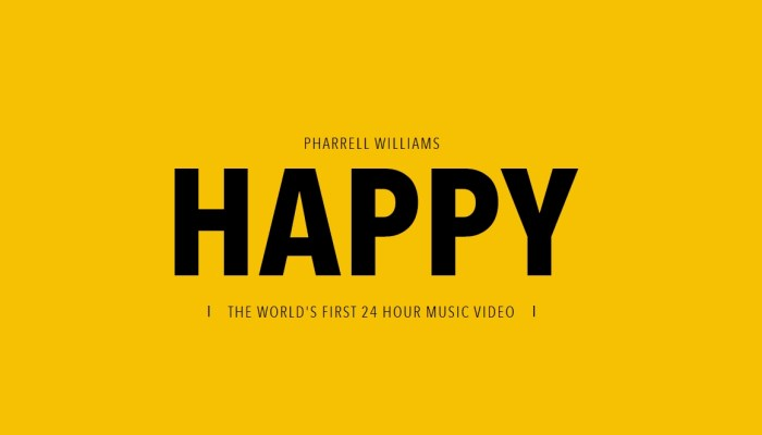 """Happy"": Pharrell Williams estrena nuevo vídeo… de 24 horas!!"