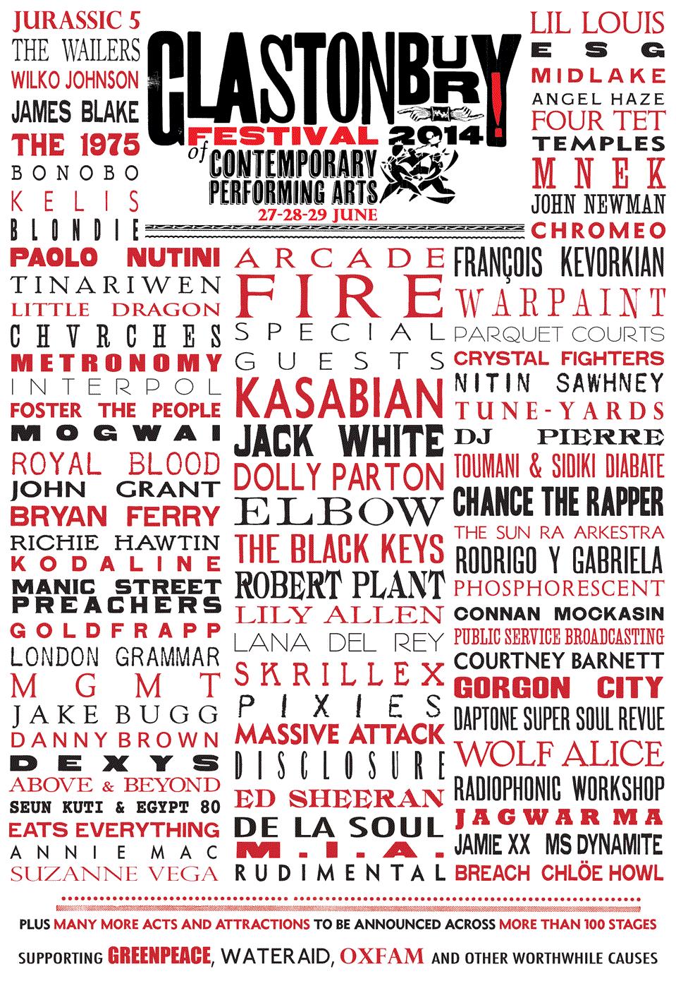 El cartel del Glastonbury 2014 es caviar de primera calidad