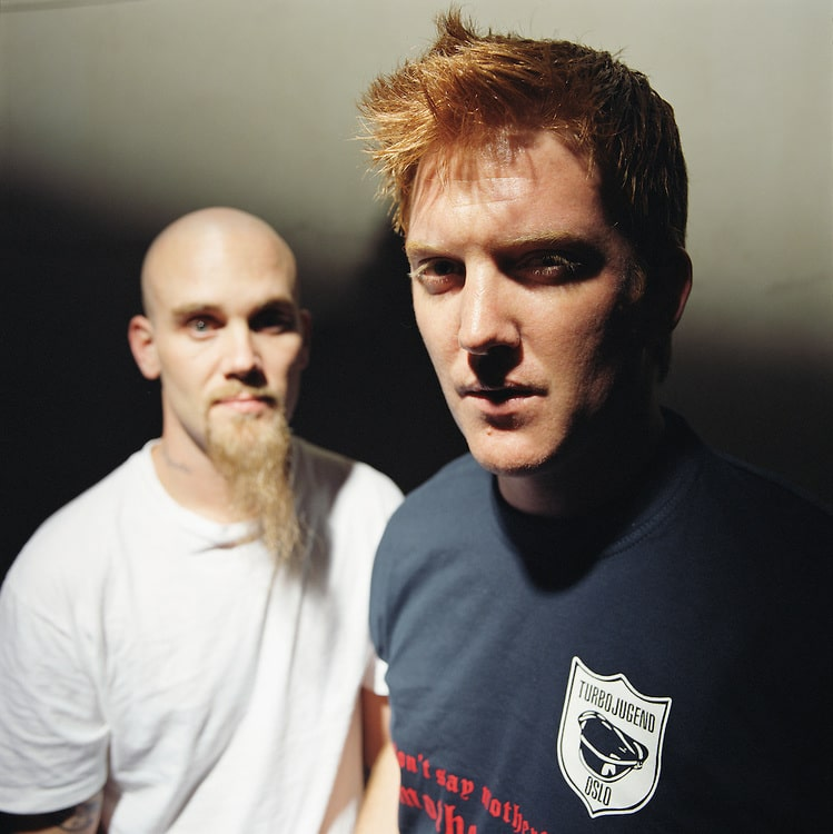 Nick Oliveri and Josh Homme of Queens of The Stone Age in Los Angeles, CA. 2004