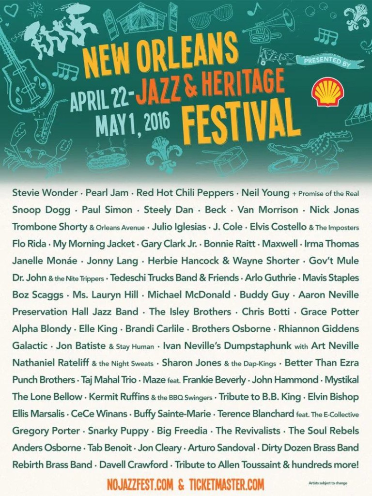 New Orleans Jazz and Heritage Festival 2016 Musical Line-up