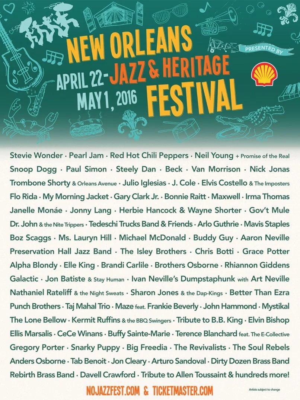 Julio Iglesias y el cartel del New Orleans Jazz Festival 2016