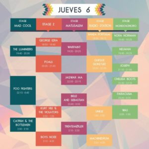 mad cool 2017 horarios jueves