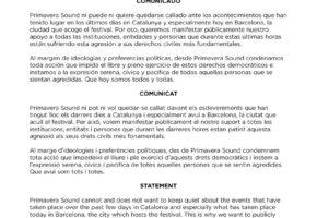 Primavera Sound opina sobre las detenciones en Cataluña