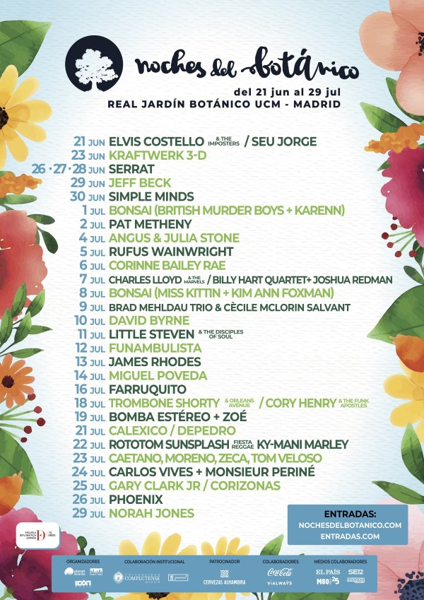 noches botanico 2018 cartel dias