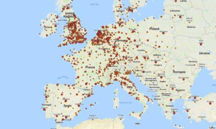 Este mapa muestra todas las tiendas de vinilos del mundo