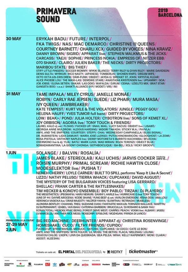primavera sound 2019 cartel dias