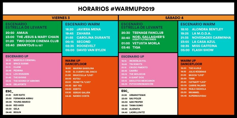 WARM UP 2019 murcia horarios