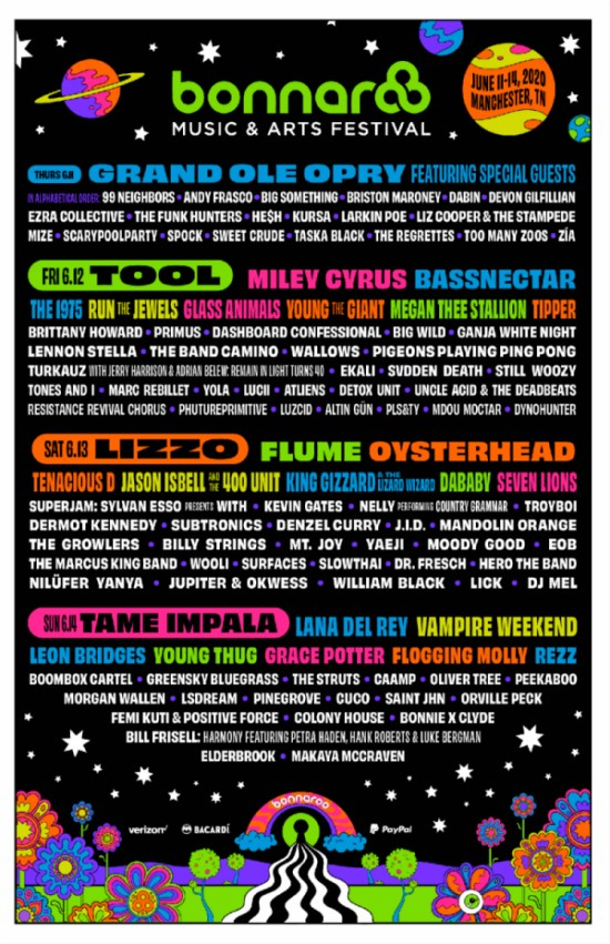 bonnaroo 2020 cartel