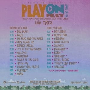 playonfest horario domingo lunes