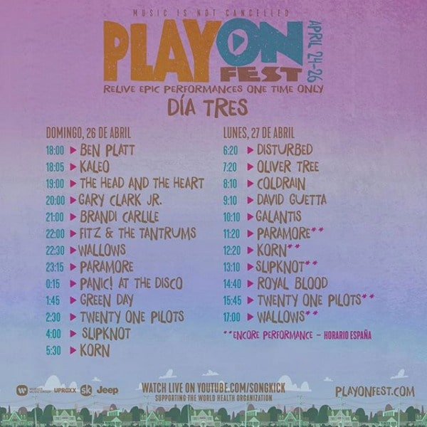 playonfest horario domingo lunes