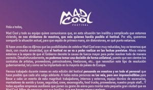 mad cool aplazamiento