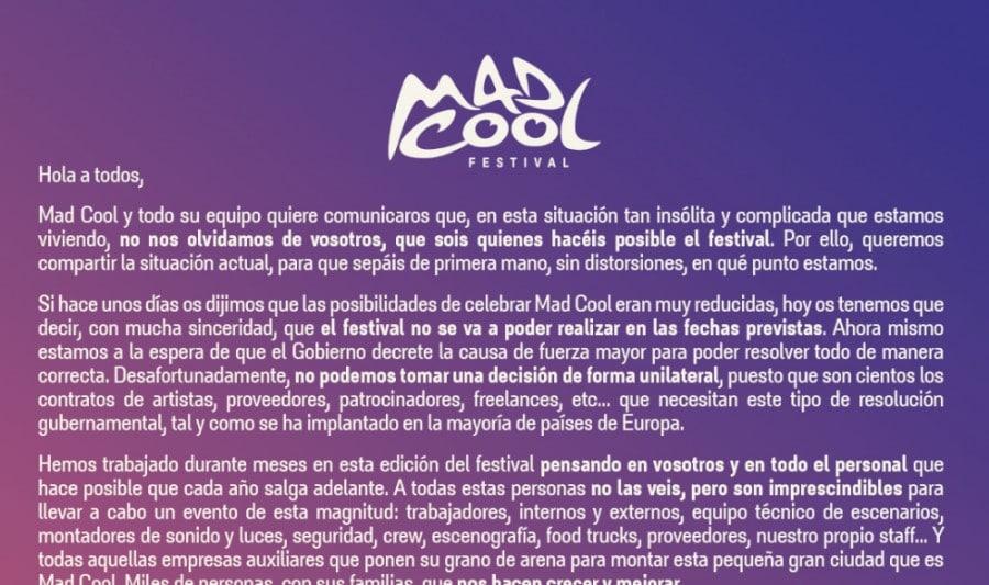 """Mad Cool: """"Lo más real y factible es aplazar el festival a 2021"""""""
