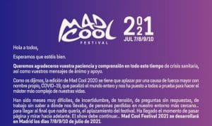 mad cool comunicado