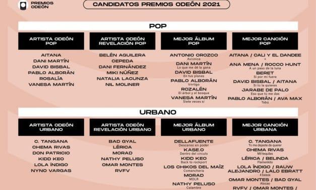 Premios Odeón 2021 – Artistas nominados y categorías