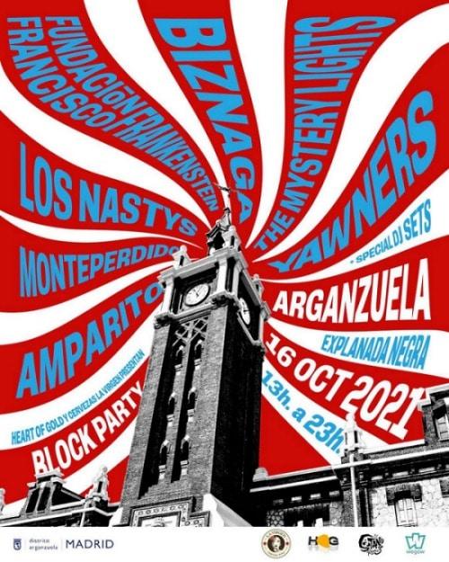 Block Party Madrid - Biznaga, Yawners, The Mystery Lights, etc. Block-party-arganzuela-cartel